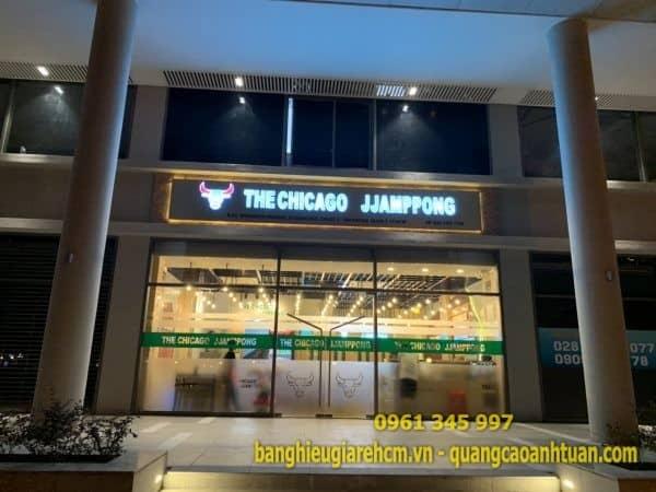 Làm bảng hiệu chữ Mica Đèn led nhà hàng Jjampppong